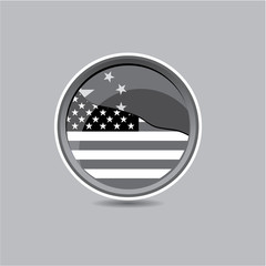 USA vs China flag button black and white