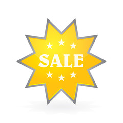 yellow button to sale shine star sticker