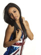 Beautiful young woman in union jack dress