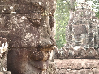 Stone Face at Bayon Temple - Angkor, Cambodia