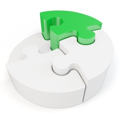 3d Puzzle Wheel with green part