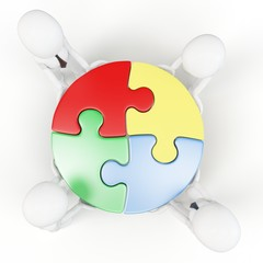 3d man with puzzle wheel