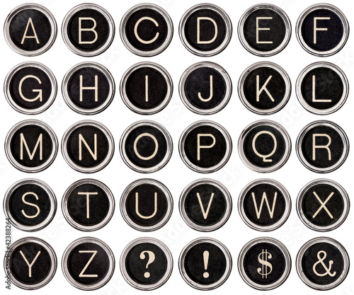 Retro Vintage Typewriter Key Alphabet