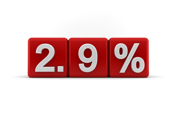 2.9 percent embossed on red cubes