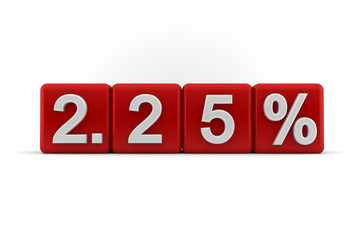 2.25 percent embossed on red cubes