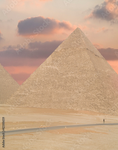 Sunset  in Cairo, Egypt. Pyramids view.