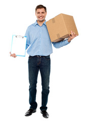 Accept carton please. Courier service