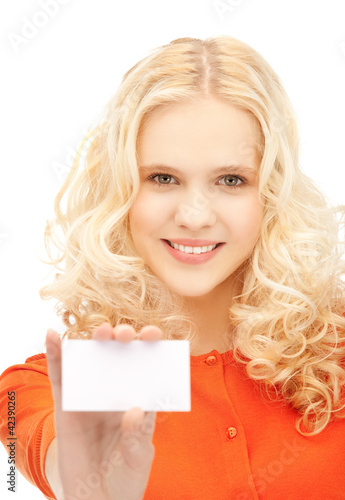 attractive student with business card