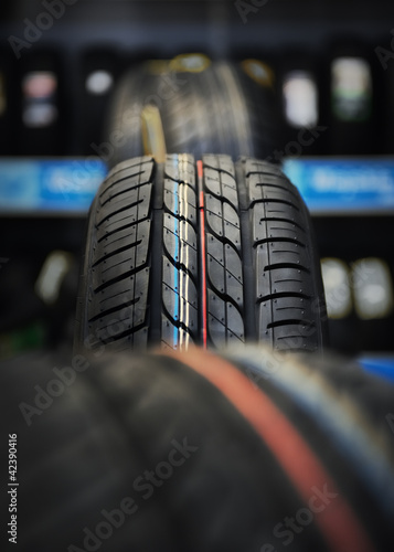 The tire tread in workshop.