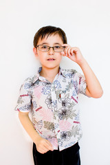 a boy with glasses