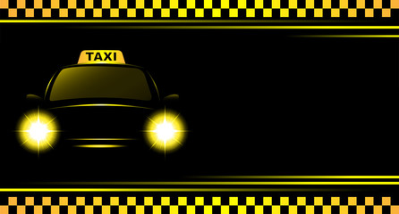 background with taxi sign and cab