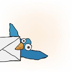 Cute Little Blue Bird carrying an envelope