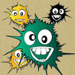 Crazy furry funny face cartoon design.vector background