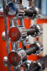 Rack of dumbbells in health and fitness gym club