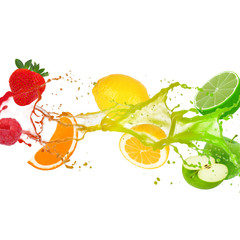 Colorful splash with fruit isolated on white