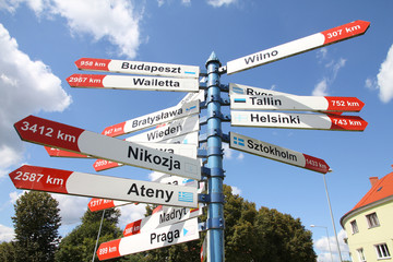 Direction signs to European capital cities in Poland