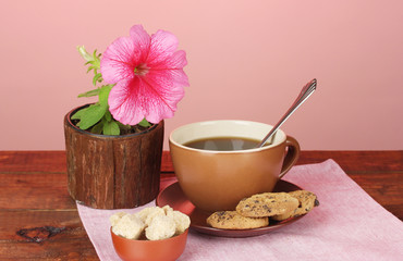 Coffee with sugar for breakfast on a bright colorful background