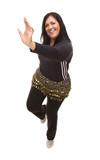 Attractive Hispanic Woman Dancing Zumba on White