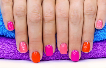 Bright color manicure