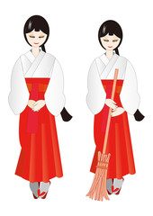 巫女 oracle,female attendant of Shinto
