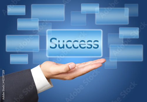 success screen Button Interface on Business hand