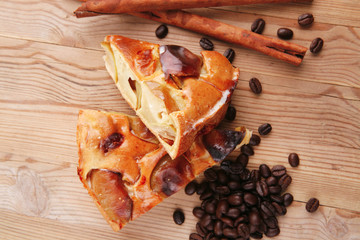 baked food : apple pies with cinnamon and coffee beans