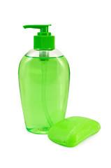 Soap green liquid and solid
