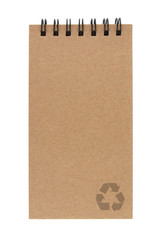 recycle paper notebook with recycle sign on white background