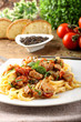 Pasta with chunks of fresh tuna, tomato and mint