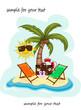 Sommerferien, Strand, Sonne und Palme