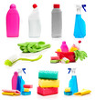 set of cleaning supplies photos