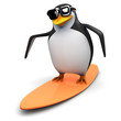 3d Penguin in glasses on surfboard