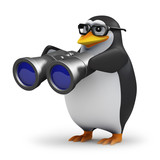 3d Penguin in glasses looks through binoculars