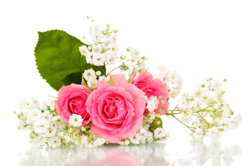 Pink roses in bouquet isolated on white