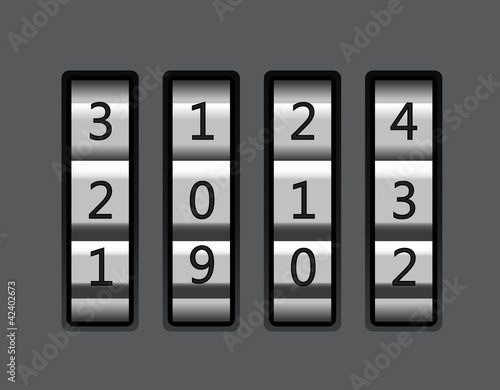 Code lock with number 2013 vector illustration