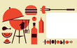 bbq party invitation template, vector illustration