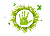 green hand imprint in grass with chamomiles poster