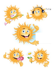 the sun is smiling. vector illustration. many options
