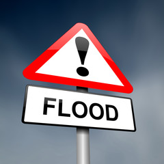 Flood warning sign.