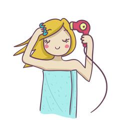 giovane donna bionda si asciuga i capelli con il phon