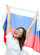 Soccer girl fan with russian national flag shouting