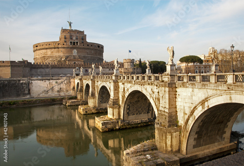 Rome - Angels bridge and castle in evening light