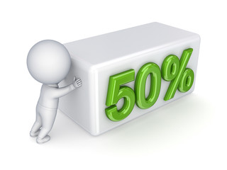 "3d small person pushing a word ""50%."""