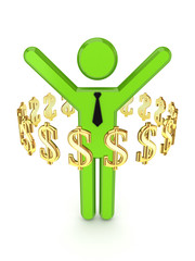 Dollar signs around 3d small person.