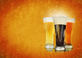 Alcohol Beer Glasses on Texture Background poster