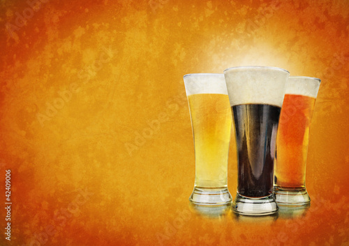 Alcohol Beer Glasses on Texture Background