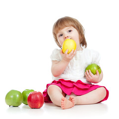 child eating healthy food apples
