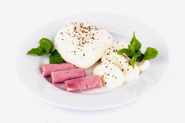 Mozzarella cheese and ham.