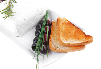 soft feta cube and bread toast