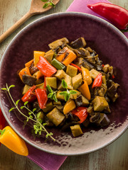 seitan stew with eggplant and pepper,vegetarian food